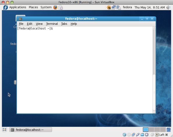 Fedora 10 running in VirtualBox on Macbook Pro